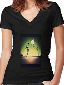 DUNKART SUNSET Women's Fitted V-Neck T-Shirt