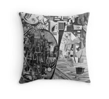 Boy Sailing his boat on a Busy City Park Lake. Throw Pillow