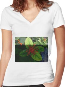 Bud Spike Flowers  Women's Fitted V-Neck T-Shirt