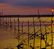 Sunset Over Old Cree Nets by derekbeattie