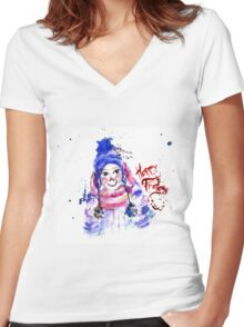 happy Women's Fitted V-Neck T-Shirt