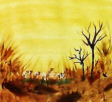 Hot  Summers Day Near the Desert,  Watercolor by Anna  Lewis