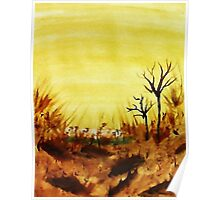 Hot  Summers Day Near the Desert,  Watercolor Poster