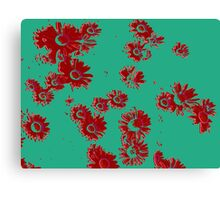 Daisies (green & red) Canvas Print