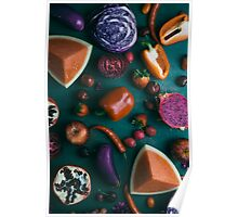 Red food on dark green Poster