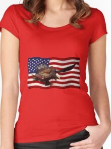 US FLAG & Bald Eagles Patriotic Design Women's Fitted Scoop T-Shirt