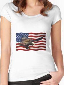 US FLAG & Bald Eagles Patriotic Design Women's Fitted Scoop T-Shirt