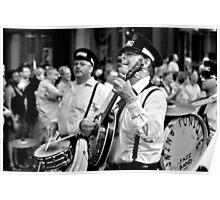 The Banjo  Player - B&W Poster