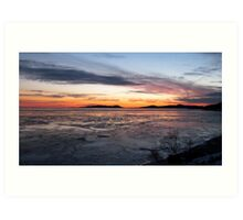 Winter Sunset over Pic Island on Lake Superior at Marathon Ontario Canada Art Print