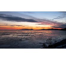 Winter Sunset over Pic Island on Lake Superior at Marathon Ontario Canada Photographic Print