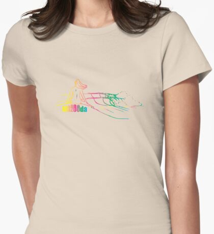 Mazooda_ChickWave_Rainbow Womens Fitted T-Shirt