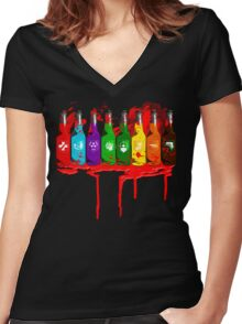 Perks all lined up and bloody Women's Fitted V-Neck T-Shirt