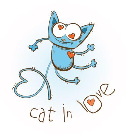 Cat in love. Sticker