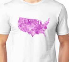 USA map in watercolor pink Unisex T-Shirt