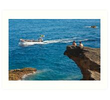 People on an islet Art Print