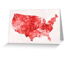 USA map in watercolor red Greeting Card