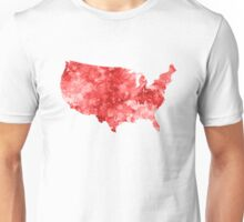 USA map in watercolor red Unisex T-Shirt