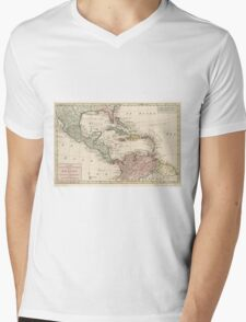 Map of the West Indies Caribbean by Isaak Tirion (1765) Mens V-Neck T-Shirt