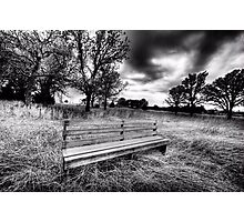 BW-Bench - Bowie, Texas Photographic Print
