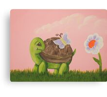 Cute Turtle with butterfly and flower Canvas Print