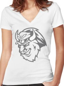 Shadaloo Bison Gray Women's Fitted V-Neck T-Shirt