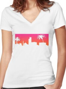 Miami Sunset T-shirt Women's Fitted V-Neck T-Shirt