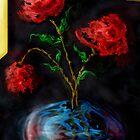 Three red flowers  by Dulcina