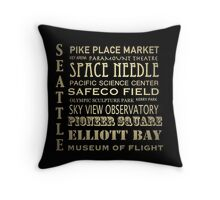 Seattle Washington Famous Landmarks Throw Pillow