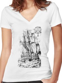 Pirate Ship T-shirt Women's Fitted V-Neck T-Shirt
