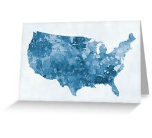 USA map in watercolor blue  Greeting Card