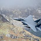 USAF F15 Strike Eagle Flying low at Corris Corner by Peter Talbot
