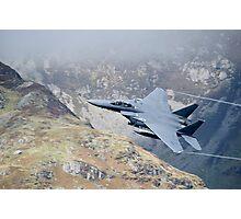 USAF F15 Strike Eagle Flying low at Corris Corner Photographic Print