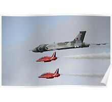 Vulcan XH558 with the Red Arrows Poster