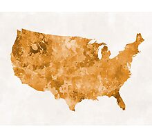 USA map in watercolor orange Photographic Print