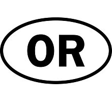 Oregon - OR - oval sticker and more Photographic Print