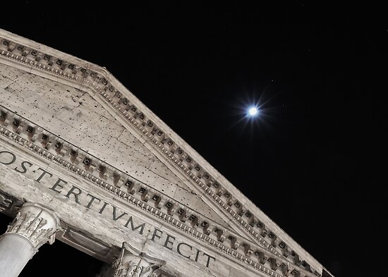Moonbeams Behind the Pantheon by Marcello Valeri