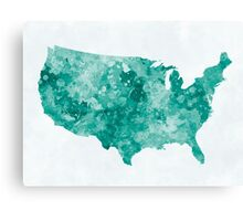 USA map in watercolor green Canvas Print