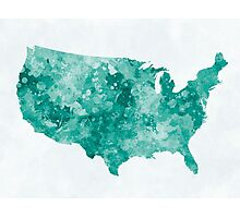 USA map in watercolor green Photographic Print
