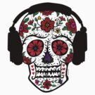 Sugar Skull with Headphones by Andi Bird