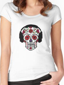 Sugar Skull with Headphones Women's Fitted Scoop T-Shirt