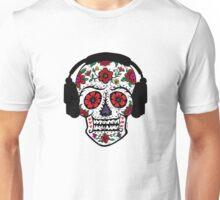 Sugar Skull with Headphones Unisex T-Shirt