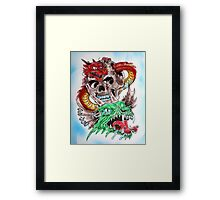 Skull Dragons Framed Print