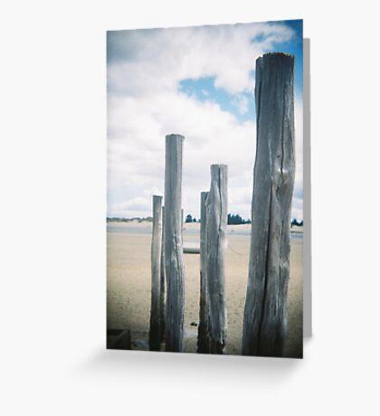 stakes - beach shots- Tasmania, Australia Greeting Card