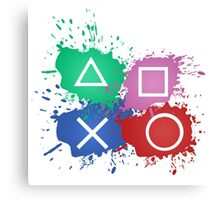 Playstation Button Splat Print Canvas Print