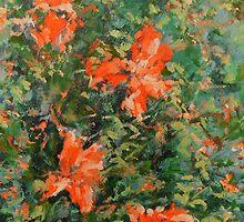 peach petals and flowers in autum by arturoarboledar