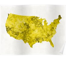 USA map in watercolor yellow Poster