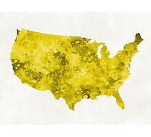 USA map in watercolor yellow Photographic Print