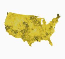 USA map in watercolor yellow Kids Tee