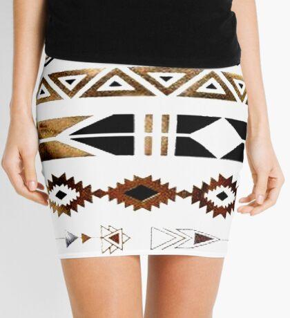 Tribal Aztec Gold and Black Design Mini Skirt