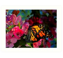 Monarch Butterfly Among Flower Blooms Art Print